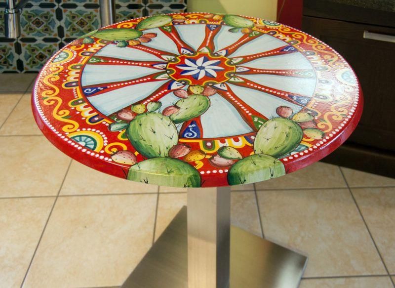 Tavoli In Pietra Prezzi.Tavolo In Pietra Lavica Decorato A Mano Raffigurante Una Ruota