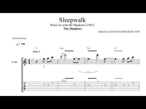 The Shadows - Sleepwalk guitar tablature - pdf guitar sheet music ...