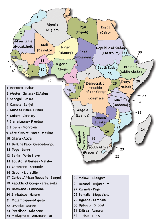 A Complete List of African Countries and Their Capitals ...
