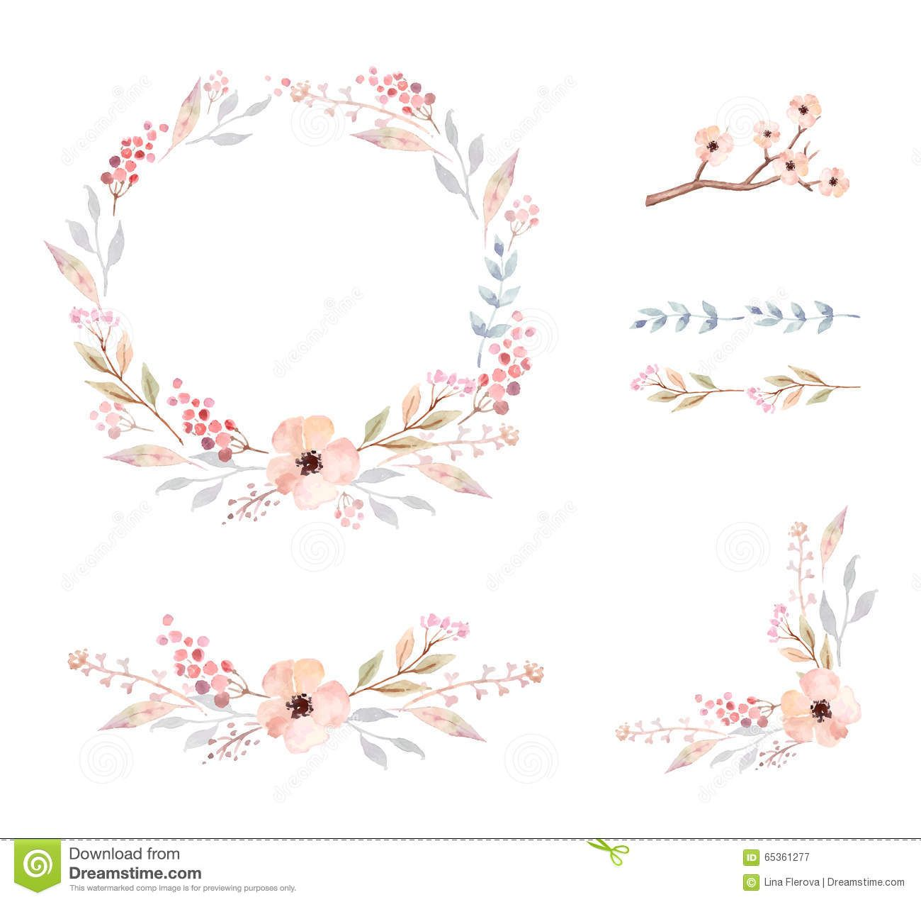 floral frame set of cute watercolor flowers download