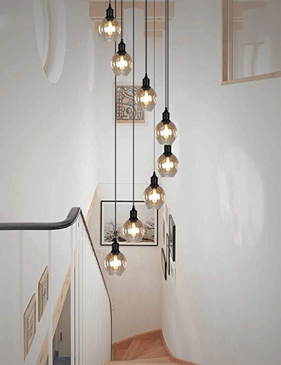 Retro Multi Glass Balls Staircase Chandelier Spiral Modern Pendant Lights For Vill In 2020 Staircase Lighting Ideas Staircase Chandelier Modern Modern Chandelier Foyer