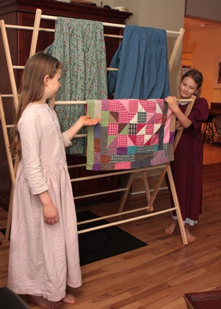 The Large Amish Wooden Clothes Drying Rack Is A Beautifully