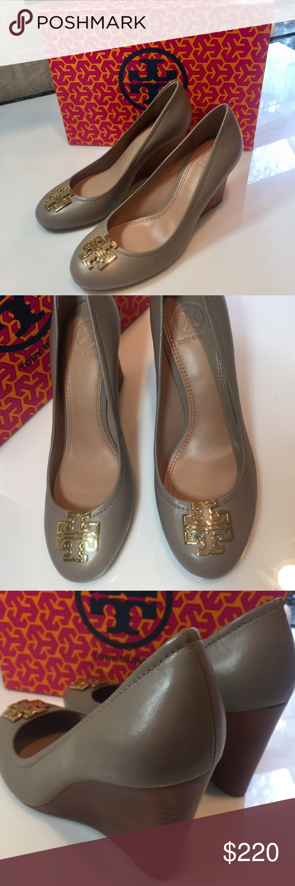 e157085a4e51 Tory Burch Melinda Wedges French Gray Gold Size 8 Tory Burch Melinda  Tumbled Leather 85 mm wedge gold TB logo. French Gray