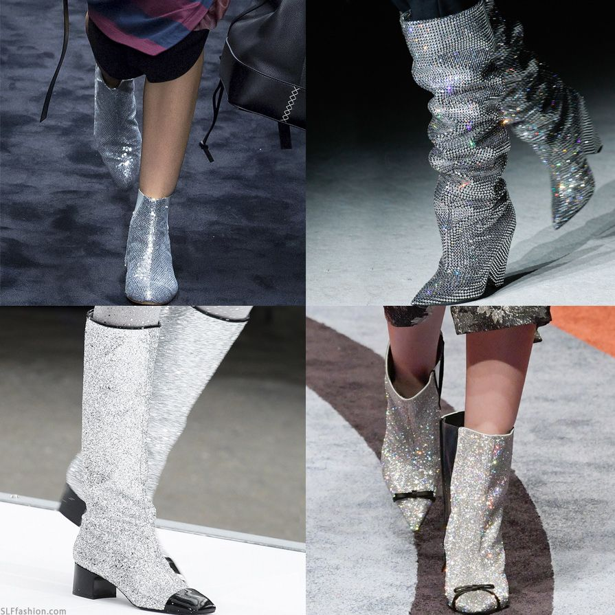 chanel glitter boots. it\u0027s all about metallica and glitter in the heels department for shiny silver glitter/rhinestone boots are \u201cit\u201d loewe, saint laurent, chanel, chanel 7