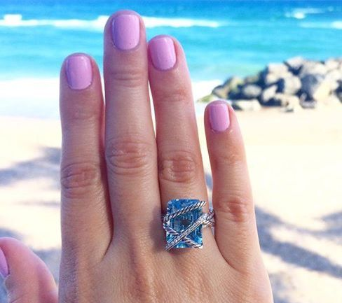 David Yurman cable wrapped ring - blue topaz