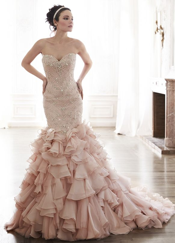 Blush Pink Glamorous Tulle And Opal Organza Wedding Dress By Maggie Sottero Serencia 5mt118