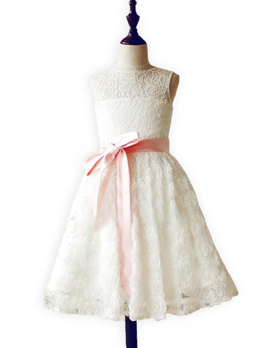 65.00$  Buy here  - Stunning Junior Bridesmaid Vestidos de Communion Flush Pink Sash Lace Rosette Sweet Heart Keyhole Baptism Flower Girl Dress 2017