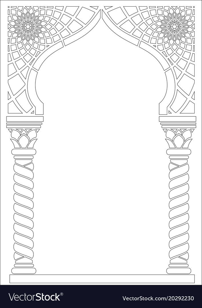 Contouring Coloring Of Arabic Style Arch Vector Image On Vectorstock Islamic Art Pattern Pattern Art Islamic Design