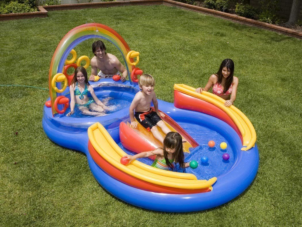 Inflatable Pool Slide Intex amazon: intex 117-by-76-by-53-inch rainbow ring pool play
