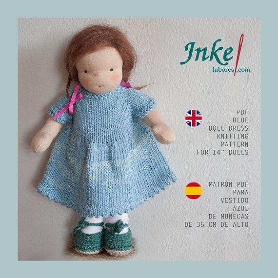 Waldorf doll knitting dress pattern PDF, English - Spanish. Tutorial ...