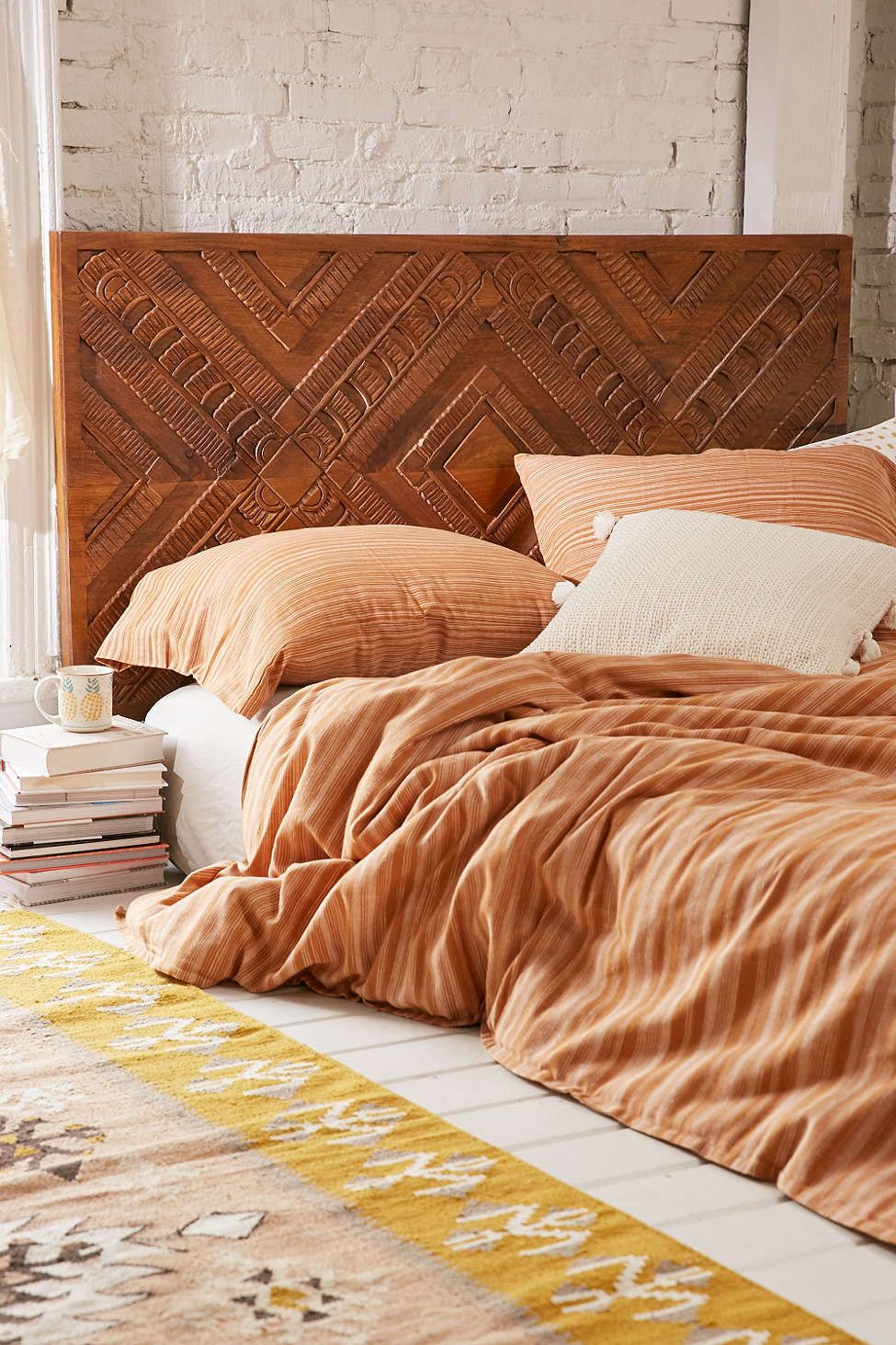 Amira Carved Wood Headboard  Bedroom  Wood headboard