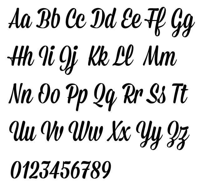 Mission script typeface alphabet by james edmondson