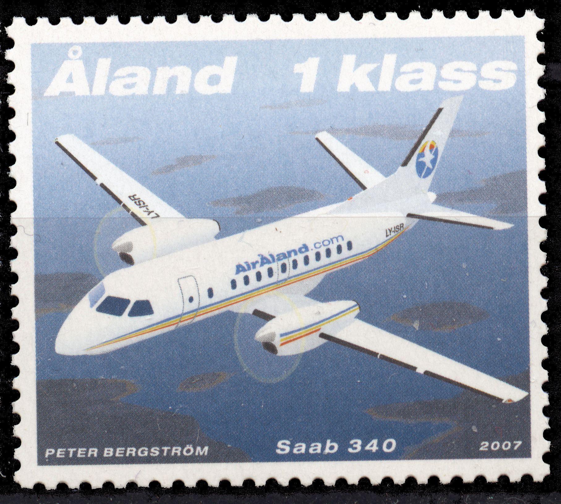 "Åland 1kl. ""SAAB 340"" 2007 [Facit: 278, Mi: 278, Y&T: 278, Sc: 259]"