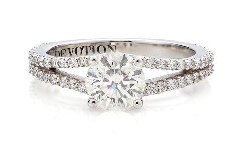 This Split Diamond Encrusted Band Accentuates A Beautiful Round Brilliant Devotion Center Stone Clic