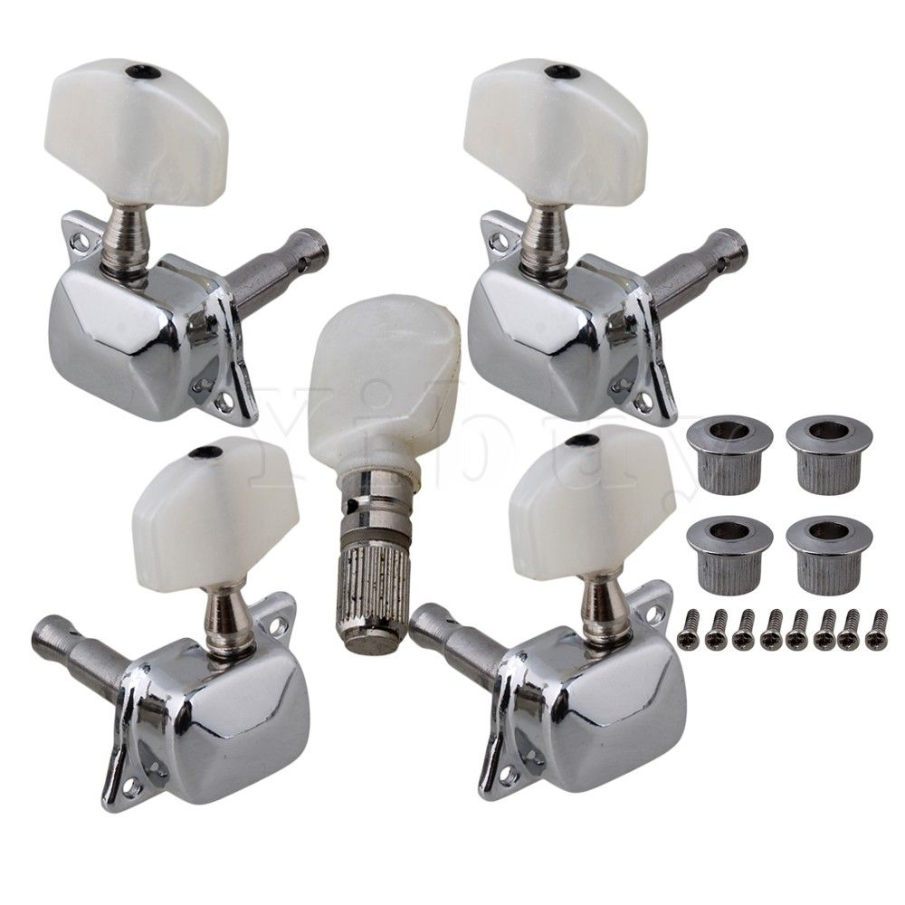 MeterMall 6pcs 3L3R Acoustic Guitar Tuning Pegs Machine Head Tuners Chrome Guitar Parts