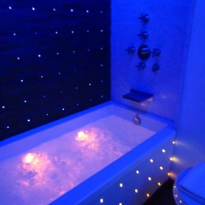 modern bathroom ~ soaker spa tub has jets, lights, loads of air ...
