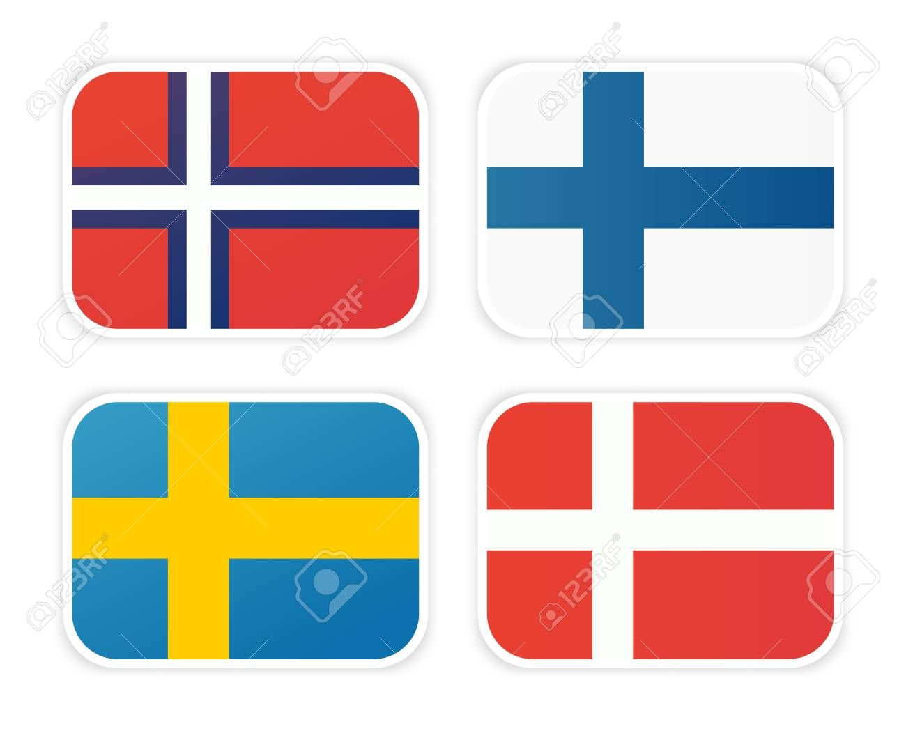 Icons Of Scandinavian Flags Isolated On White Background Vector Symbol Of Norway Sweden Finland And Denmark Illustration Af In 2020 Scandinavian Finland Novelty
