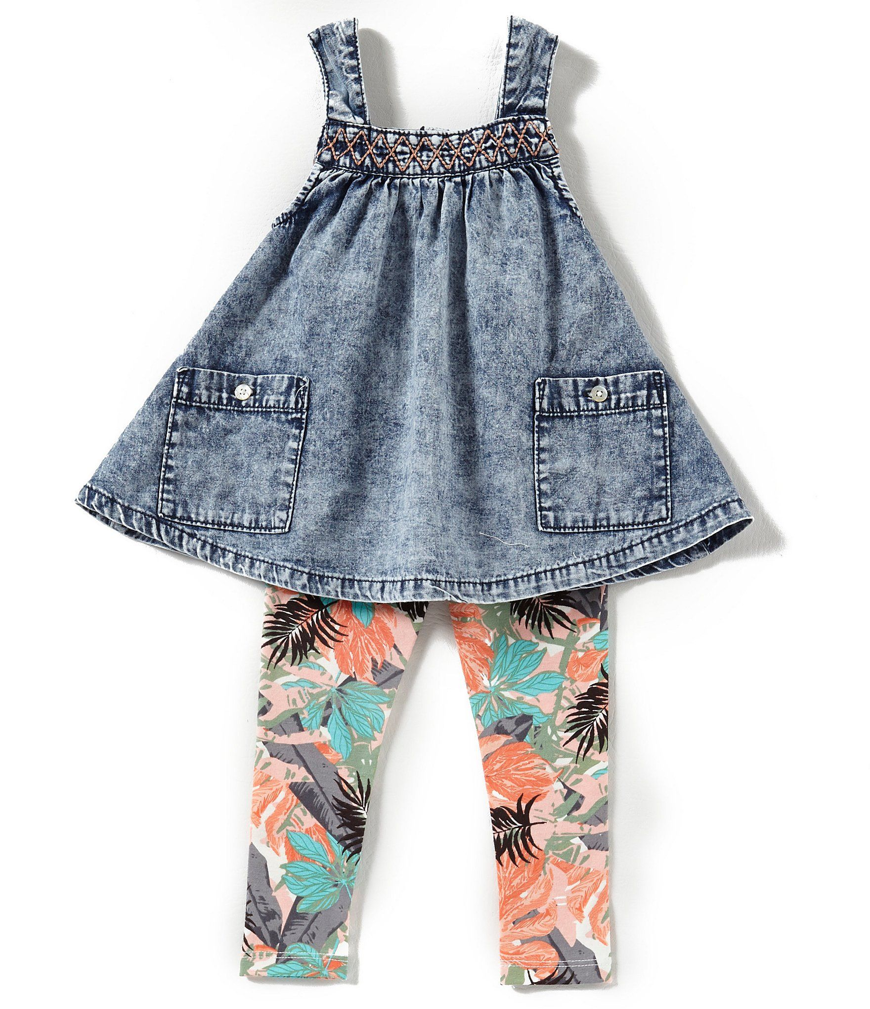 Jessica Simpson Baby Girls 12 24 Months Denim Tank Top & Tropical