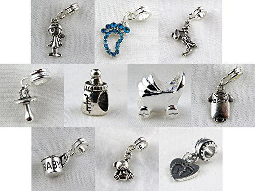 Set Of 10 Baby Boy Charms And Beads Includes Boy Dangle