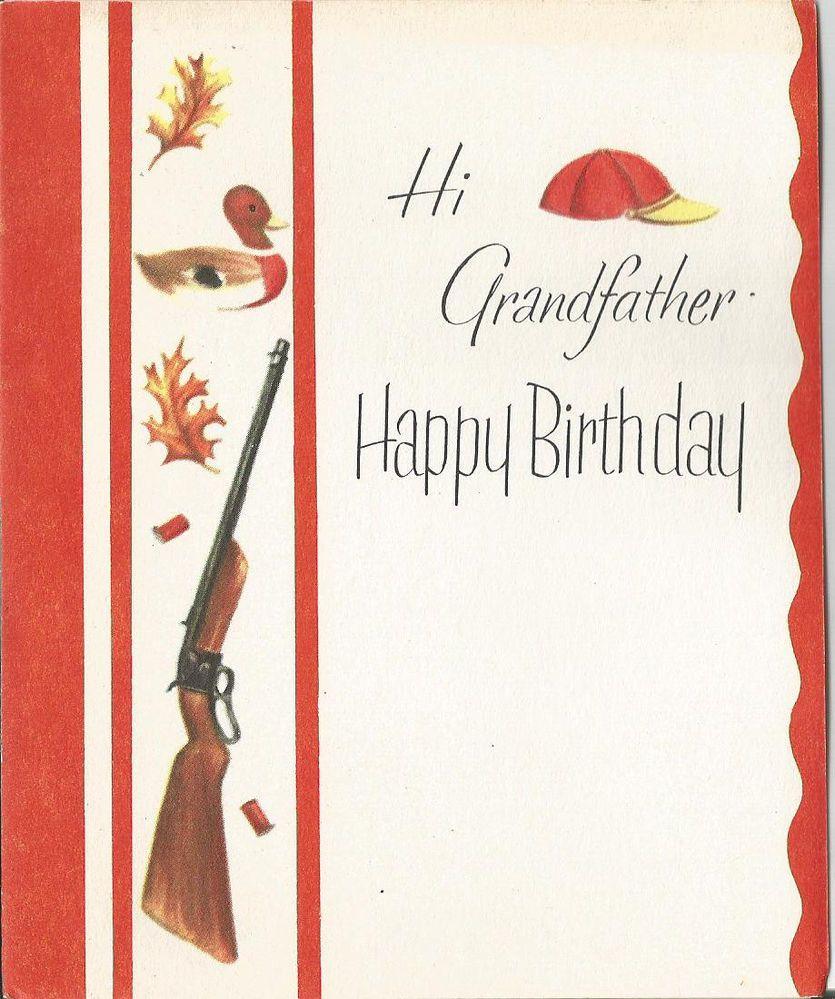 Vintage grandfather birthday greeting card with gun and duck vintage grandfather birthday greeting card with gun and duck unused bookmarktalkfo Gallery