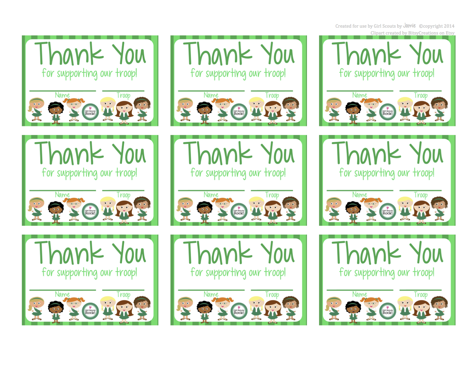 Fashionable Moms: Girl Scouts   FREE Printable Thank You cards