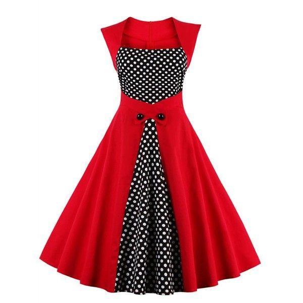 4d55ec0ae0 Polka Dot Semi Formal Midi Skater Dress ( 20) ❤ liked on Polyvore featuring  dresses