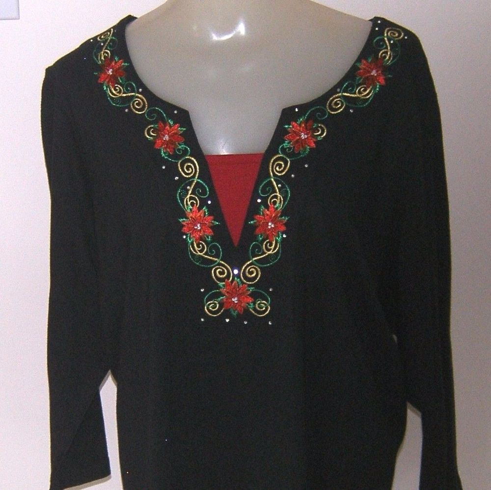 Christmas Tops Plus Size.Poinsettia Christmas Top Blouse Plus Size 1x Layered Look