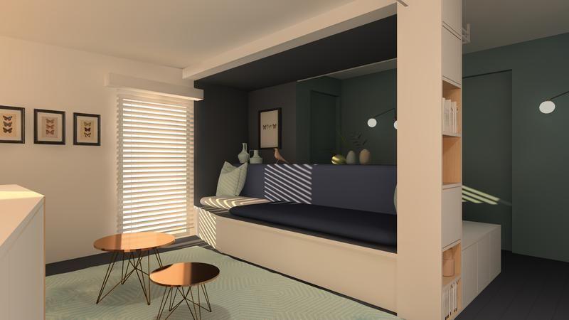 la maison france 5 le quartier du marais bedroom. Black Bedroom Furniture Sets. Home Design Ideas