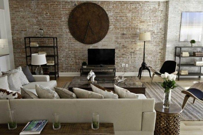 dekoideen wohnzimmer vintage wanduhr ziegelwand Dekoration - schöne wanduhren wohnzimmer