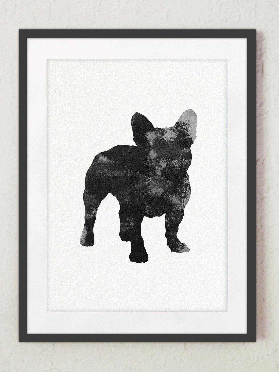 French Bulldog, Dog silhouette, Black dog poster, Dog wall