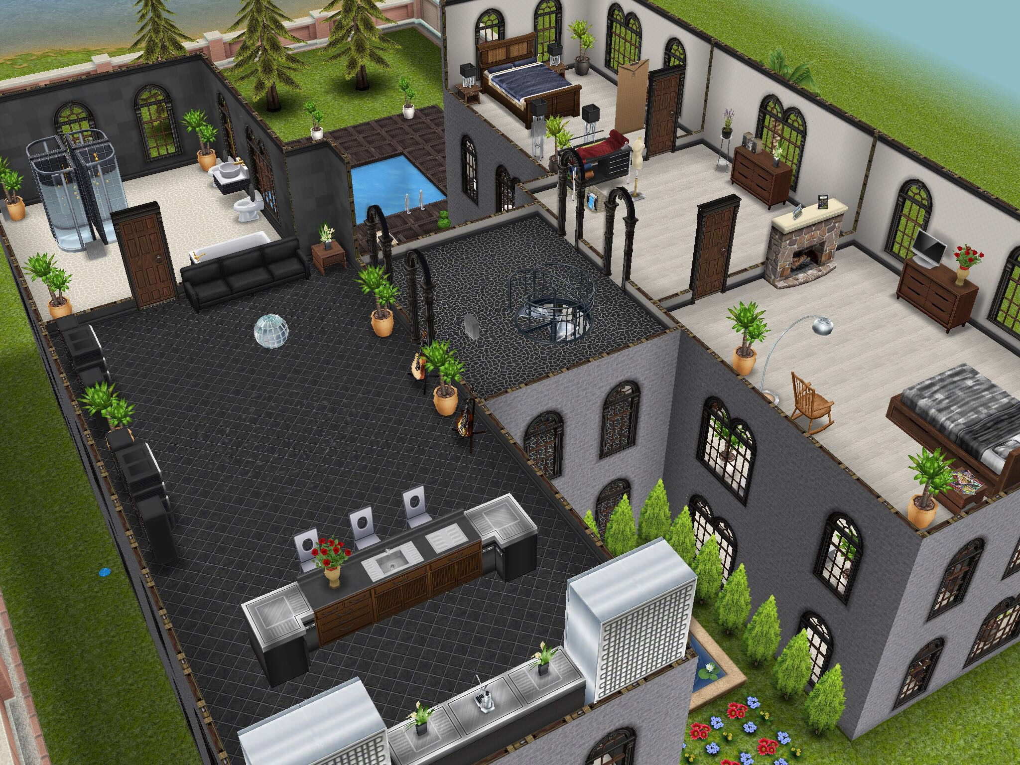 Three Story Mansion 3rd Floor Designedbyjade Sims Freeplay House Design Ideas Pinterest