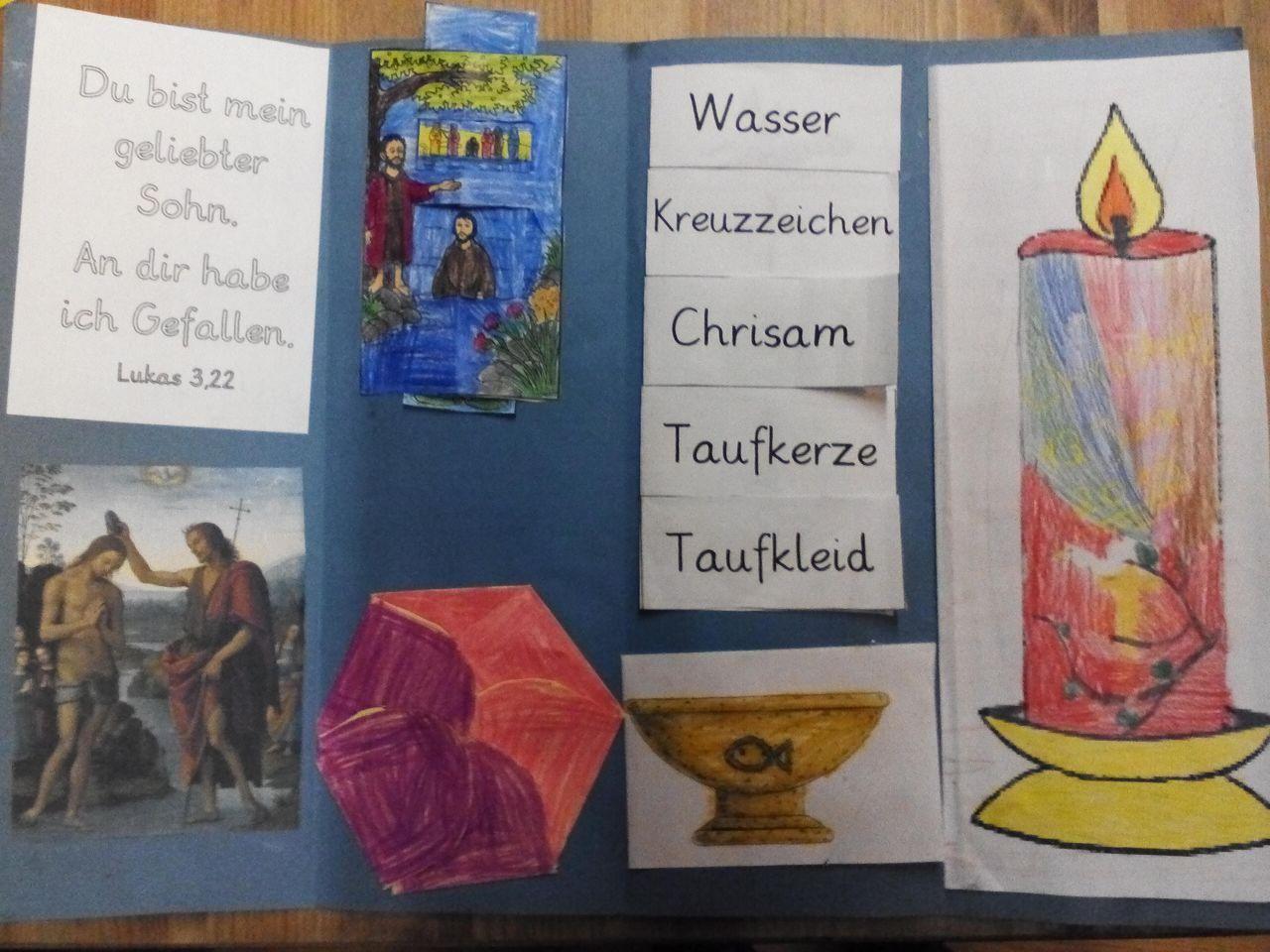 Lapbook Zur Taufe Symbole Gebete Taufkerze