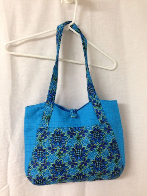 Turquoise floral purse / handbag by junkjunkie1959 on Etsy, $22.95