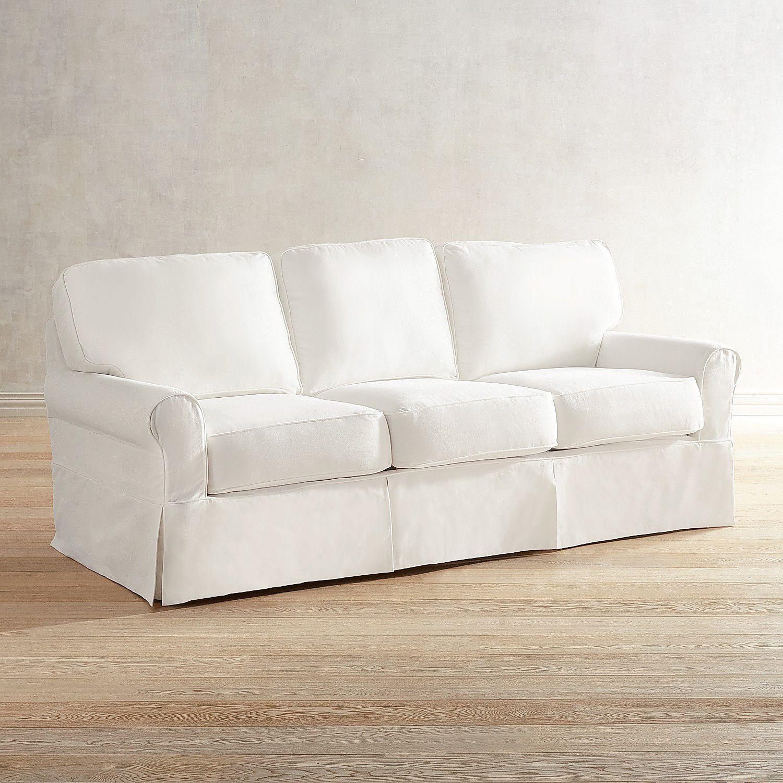 Lia Pierformance Slate Gray Slipcovered Sofa Modern