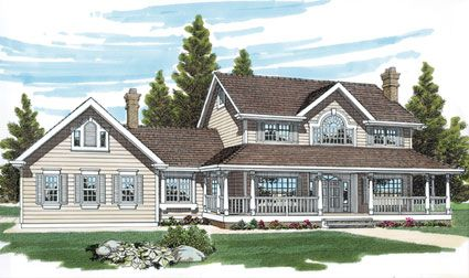 The interior of this Farmhouse style home features classic floor planning with a vaulted center-hall foyer.  Farmhouse Home Plan # 401018.