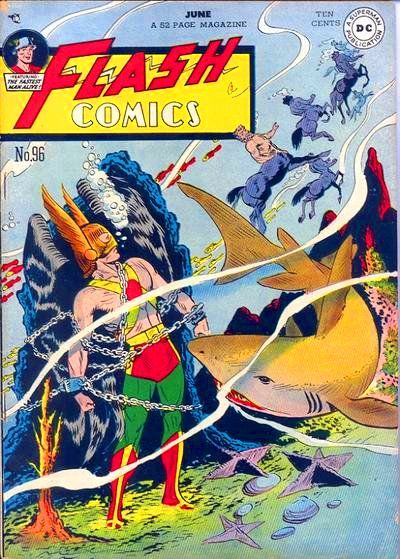 Centaurs tying Hawkman to a rock underwater, who despite the shark and BEING UNDERWATER AND HE'S NOT AQUAMAN doesn't seem that concerned, and they say the Silver-Age was weird. Flash Comics, 1948 Art...