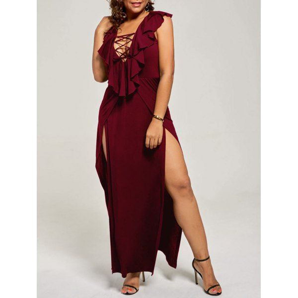 Plus Size Lace Up High Slit Flounce Dress Mylas Fashion