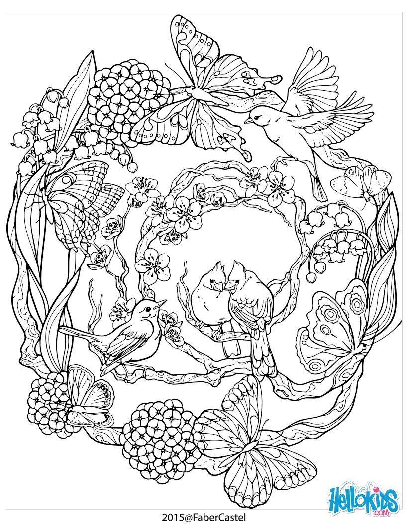 Mandala With Natural Patterns Worksheet Flowers Birds And