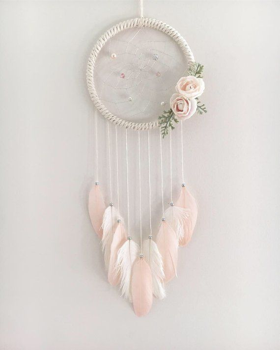 Tranquil Floral Dream Catcher with Feathers #dreamcatcher
