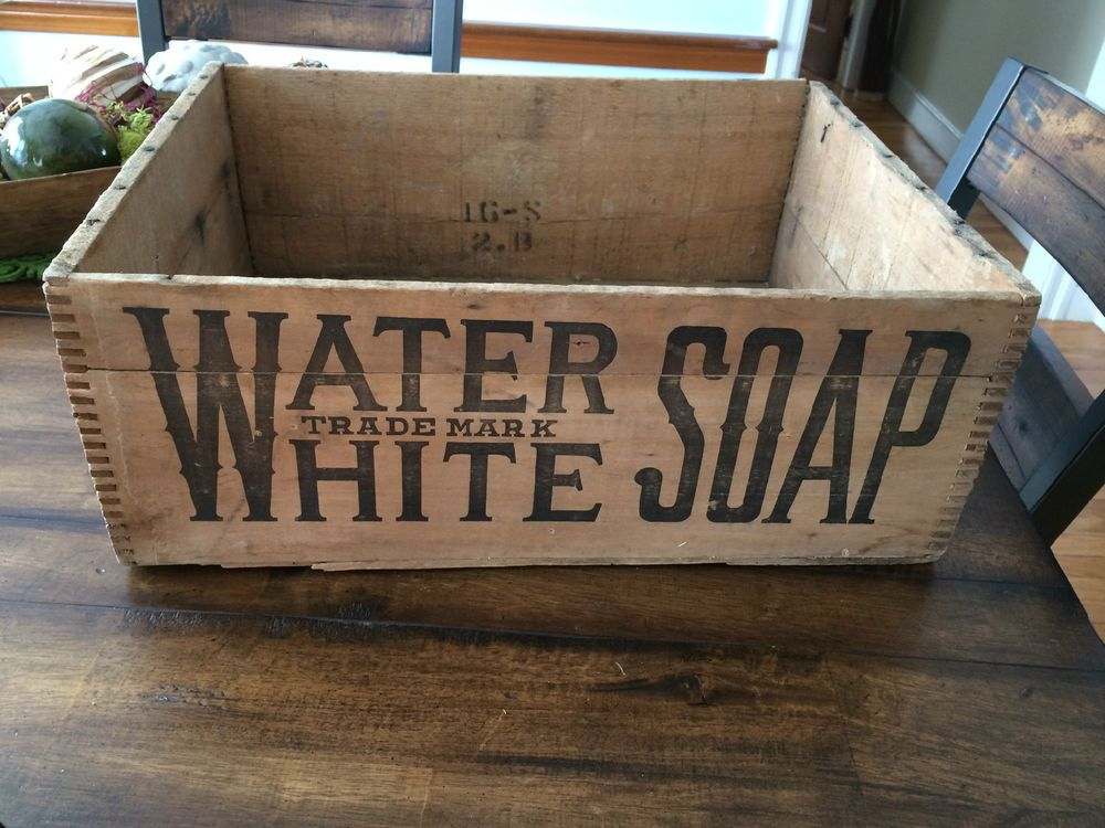 Rare Antique 1900s Water White Soap Box Advertising Wood Wooden