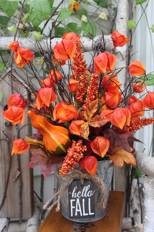 Fall Chinese Lantern Arrangement, Silk Flower Fall ...