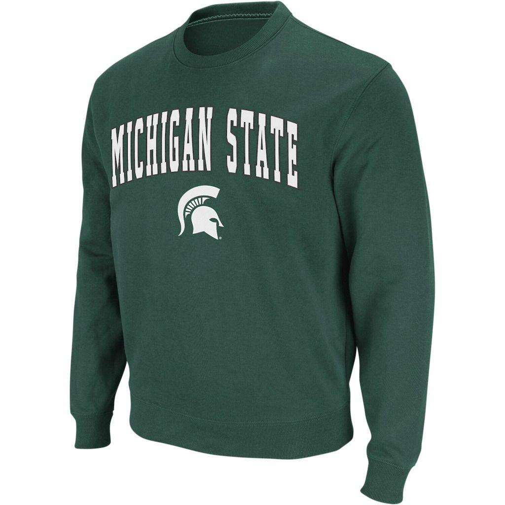 Men S Colosseum Green Michigan State Spartans Arch Logo Crew Neck Sweatshirt Michigan State Spartans Sweatshirts State Sweatshirt [ 1024 x 1024 Pixel ]