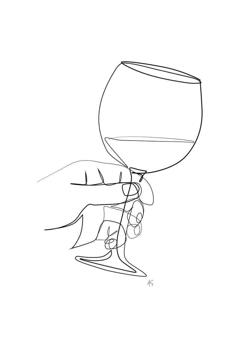 Hand Holding Glass Full With Wine One Line Art Black And White