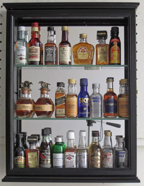 SOLID WOOD, Mini Liquor Bottle Display Case Cabinet Shadow Box, CD06B   For  The Bar