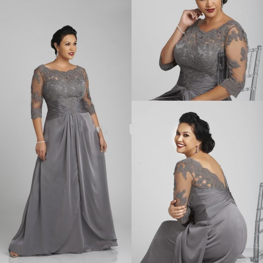 Plus Size Grey Mother Off Bride Dresses 2015 Sheer Neck
