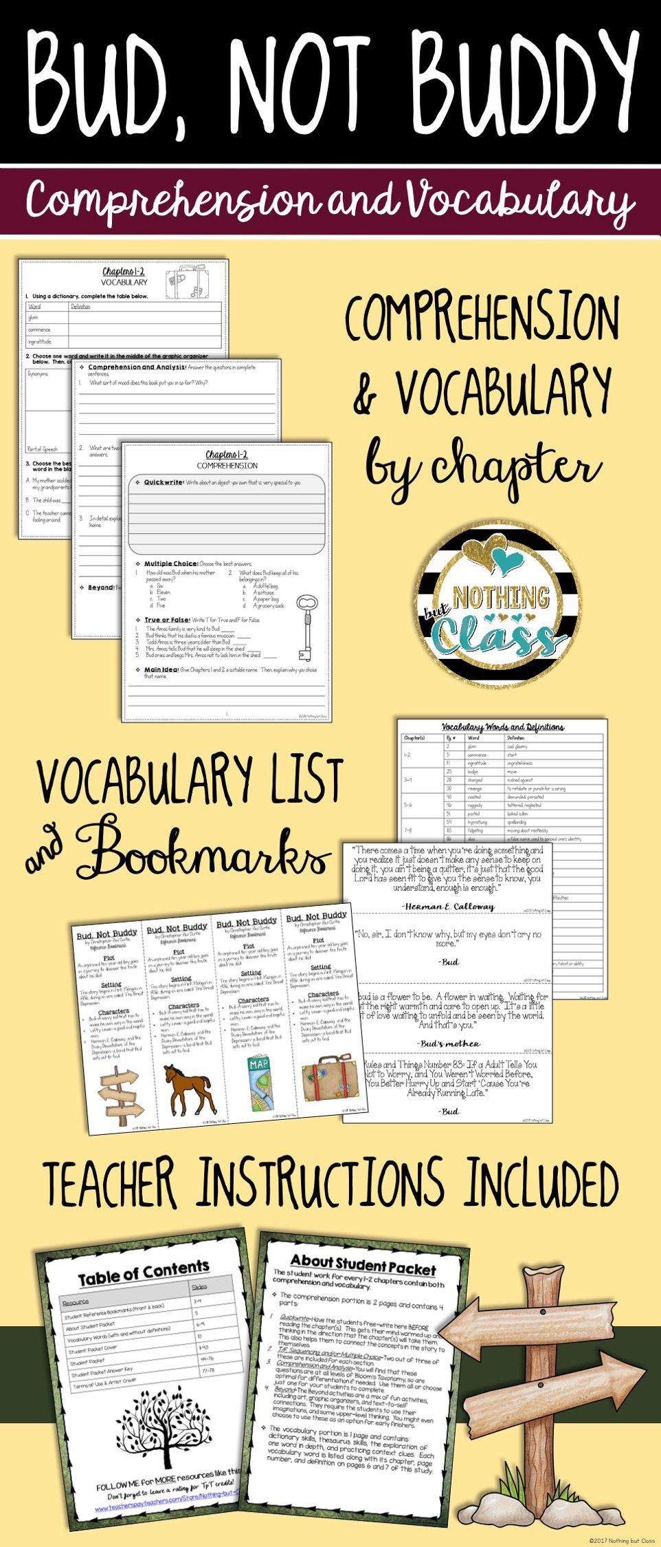 Uncategorized Bud Not Buddy Worksheets bud not buddy comprehension and vocabulary by chapter
