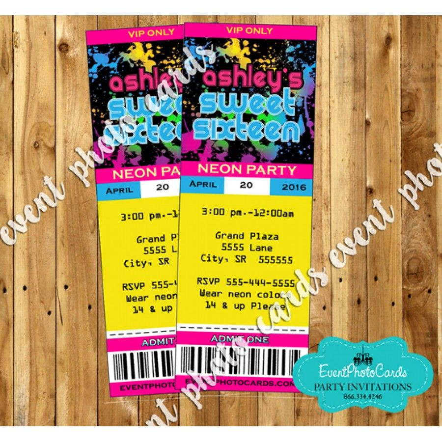 Glow Party Ticket Invitations - 16 | Glow in the Dark Party Ideas ...
