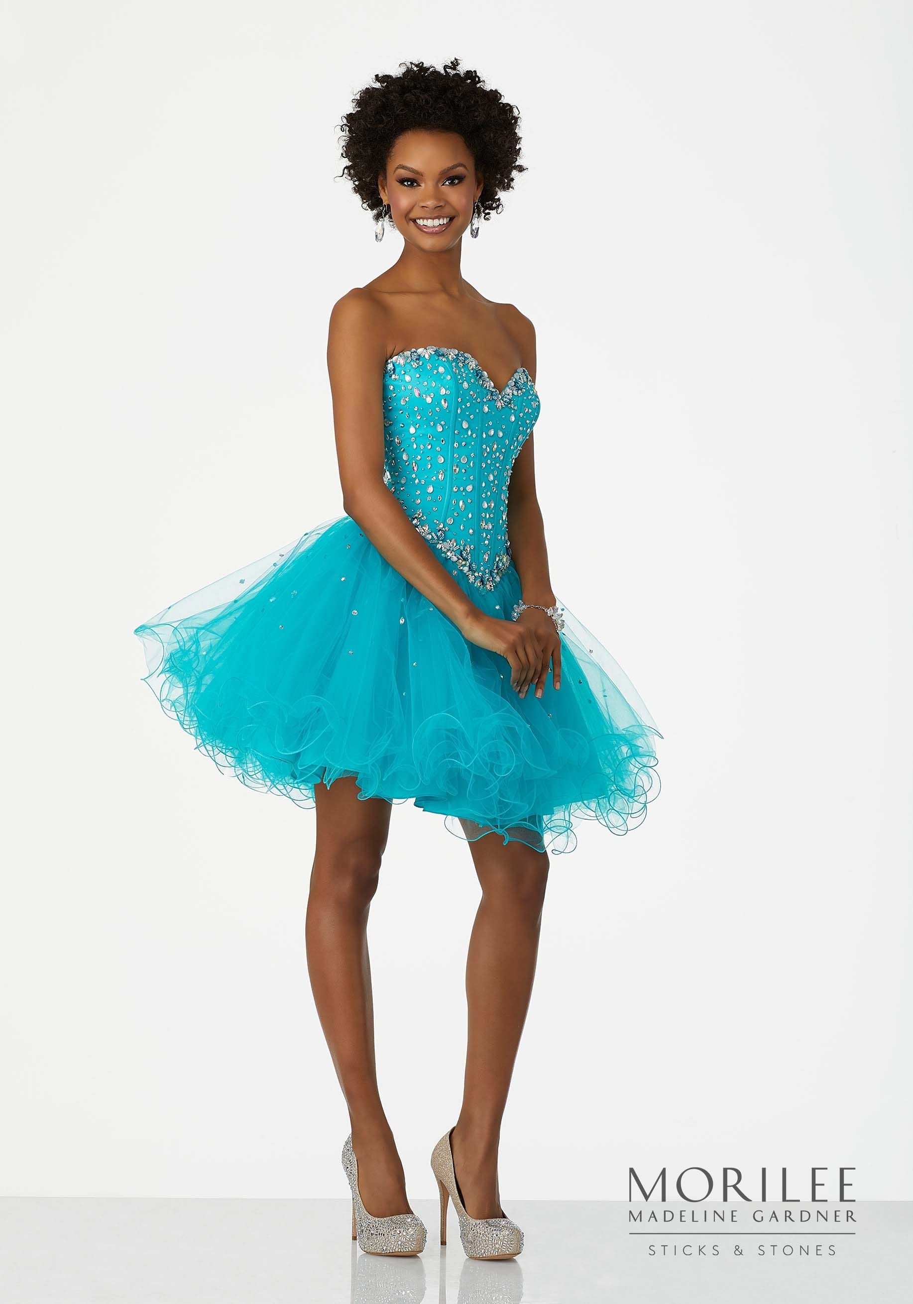 Teal Beaded Tulle Party Dress with Sweetheart Neckline and Corset ...