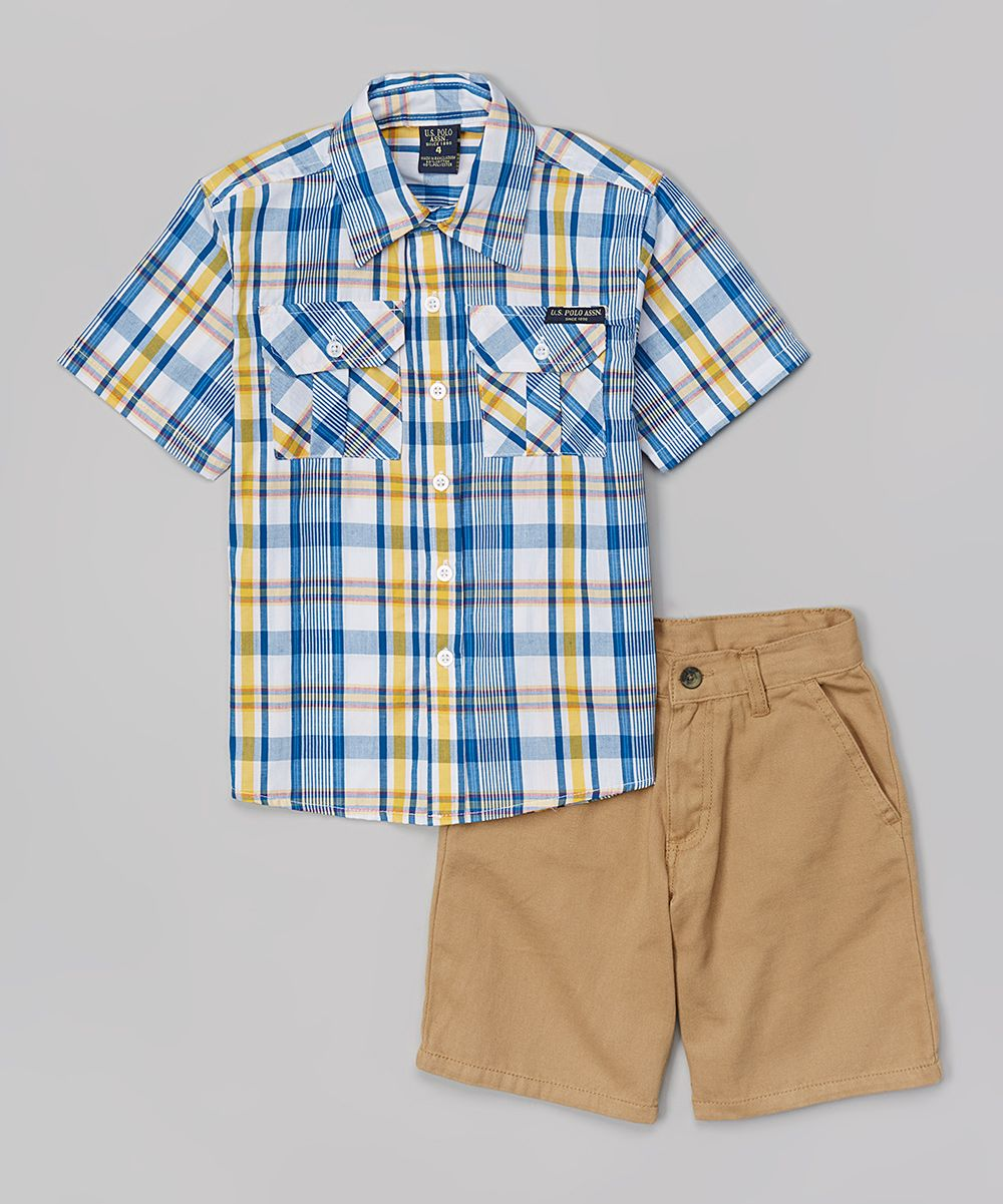 Blue & Orange Plaid Button-Up & Shorts - Toddler & Boys