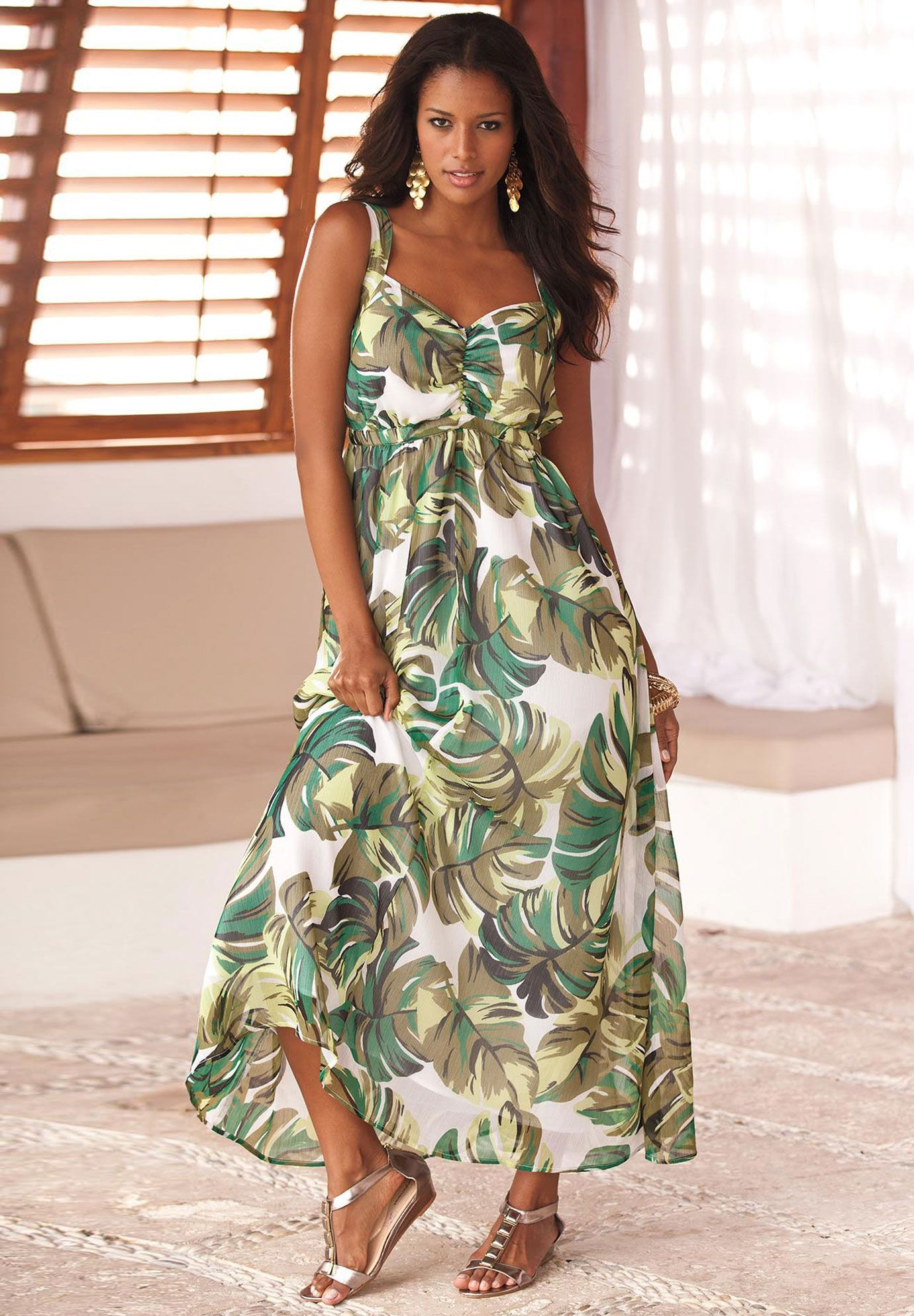 31637a858351f Plus Size Maxi Dress in Super Nature Print and Empire Waist by Denim 24 7